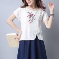 Baju Atasan Blouse Cheongsam White Chive Blossom (M) Import Original