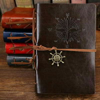 BLKWT Buku Catatan Binder Diary Kulit Retro Pirate Unik