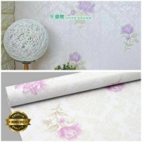wallpaper sticker dinding termurah motif bunga ungu uk 10m x 45cm