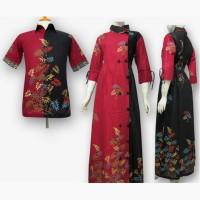 Model Baju Gamis Batik Couple Kombinasi Terbaru - Busana Muslim SA-404