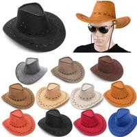 Topi cowboy dewasa kulit tebal / topi cowboi unisex