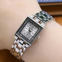 seiko watch jam tangan wanita bentuk kotak hitam silver emas gold