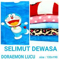 Selimut bulu dewasa Doraemon biru selimut halus murah dan terbaru