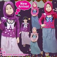 top Baju Setelan Muslim Anak Perempuan Kaos Pita Minnie Celana Rok Ka