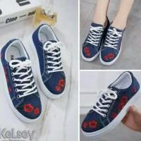 Sepatu Kets Wanita Sneakers Bunga Bordis Jeans Sds215