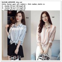 Baju Atasan Kemeja Garis Tunik Blouse Wanita Korea Import Blue Red