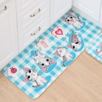 Cartoon Cat Blue Foam Mat size L - Keset Rumah minimalis shabby