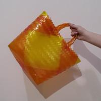 Tas Keranjang Anyaman Plastik Kecil Terang