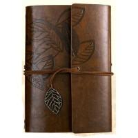 Buku Catatan Binder Kulit Retro Leaf Note Kertas A6