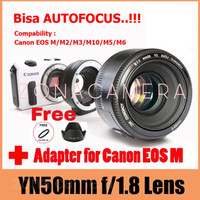 Jual Paket Lensa Yongnuo 50mm F1.8 For Canon + Meike Mount canon to eos M Murah