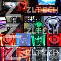 Headset / Headphone stand Akrilik LOGO RAZER GREEN LED (bisa request)
