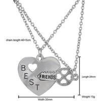 Kalung Pasangan Bentuk Hati dan Kunci / Couple Necklace - Silver