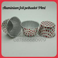 Cup/wadah aluminium foil polkadot merah 94ml
