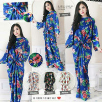 MN053 Tropical Ikat Kaftan Satin / Baju Pesta / Maxi Dress