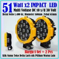 Lampu Sorot Tembak LED 2 pcs 51 watt 51w 12 volt 24 volt - kuning