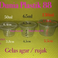 gelas 130ml + tutup @50pc / gelas plastik cup bening besar agar rujak