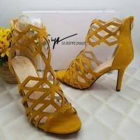 Jual sepatu pesta high heels import wanita branded kuning yellow Murah