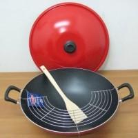 Chef Wok 40cm Wajan Teflon Maxim tutup spatula penyaring minyak