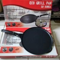 Round grill pan teflon anti lengket bagus wajan datar untuk memangga