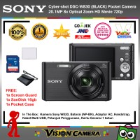 SONY Cyber-shot DSC W830 Black + ScreenGuard + SanDisk 16gb + Pouch