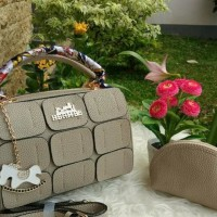 Cool22-00 Tas Fashion Wanita Branded Set Hermes Kotak Resleting Mini