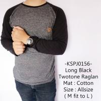 Kaos Lengan Panjang Pria Model Keren Long Black Twotone Raglan -156