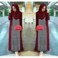 JN 3in1 Luna Stripe Hijab /long cardi hijab maxi