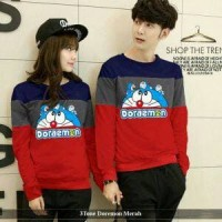 lengan panjang couple trendy | baju kapel serasi | 3Tone doraemon red