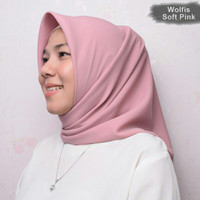 Jilbab Segi Empat Wolfis Basic Soft Pink Square Hijab Kerudung Ori
