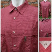 Kemeja Outdoor Columbia Omni Shield Two Pocket Original Red Burgundy1