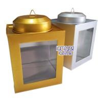 Kaleng Kerupuk Mini Ukuran 11 x 13 cm - Gold dan Silver