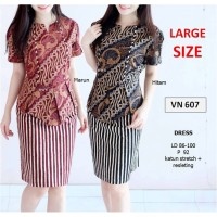 HOT SALE SEVN607 - dress batik kantor sepan pastel jumbo peplum etnik