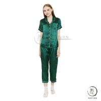 Piyama Emerald Green Organic Satin Baju Tidur Pajamas Wanita PSO10