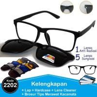 TERLARIS Frame Kacamata RB Korea Minus Clip On 5 Lensa Polarized Tanpa