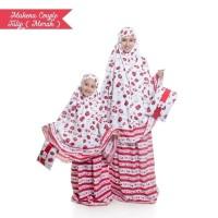 Mukena Couple Bali Tulip Merah Ibu dan Anak Kembaran Cantik Adem Murah