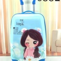 tas koper anak fiber 16 inch 4 roda disney biru blue korea import