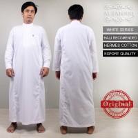 Baju koko Gamis Jubah Pria lengan panjang putih bordir Al Farouq