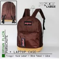 GET1042 Tas Ransel Jansport Besar Parasut Coklat Polos Limited