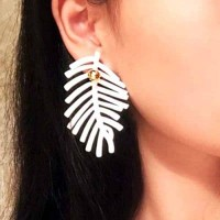 Feather Leaves Metal Ball Earrings White+Gold Anting Giwang Perhiasan