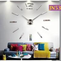 Jam Dinding Raksasa 3D Giant Wall Clock Warna Silver Tanpa Angka-JN530