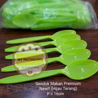 Sendok Makan Plastik Premium - Hijau Terang (harga isi 100pcs/pack)