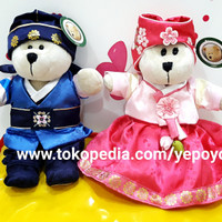 Boneka Starbucks Bear Bearista Korea Hanbok Boy and Girl