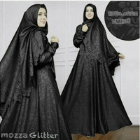 Baju Muslim / Gamis Set Syari Mozza Jaguar Glitter Set Hitam Terbaru