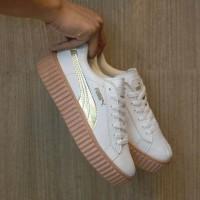 Sepatu Puma Fenty Rihanna Putih Gold / Cewe Wanita / Casual Wedges