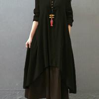 Zanzea Gracila Vintage Woman Sleeve V-Neck