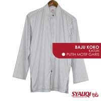 Baju Koko Lengan Panjang Syauqi Katun Putih Motif