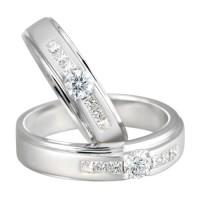 cincin pasangan emas putih 22k + platinum 90%
