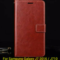 Leather Flip Cover Wallet Samsung J710 / J7 2016 Dompet Case Kulit HP