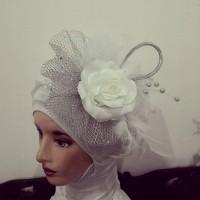 headpiece hijab pengantin bisa jadi hairpiece pengantin simple white