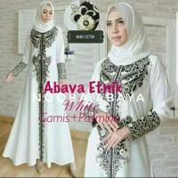 Jual Exclusive Abaya Etnik Gamis Jubah Dress Arab Bordir Turki Putih White Murah